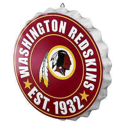 Washington Redskins Bottle Cap Sign - Est 1932 - Room Bar Decor NEW 13.5