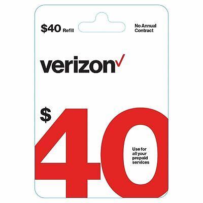 $40 Verizon Wireless Prepaid Refill Card - Super Fast (Email Delivery) Brand New