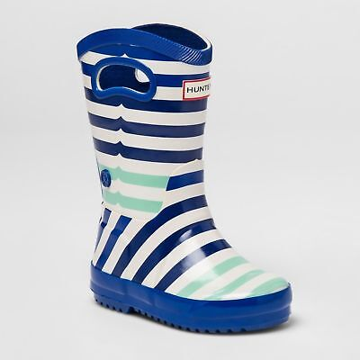 Hunter Boots Toddler (Hunter for Target Toddlers' Striped Waterproof Tall Rain Boots- Blue, Size 8)