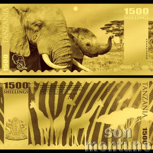 ELEPHANT - African Big Five - 1 Gram 24K Gold Flexible Bank Note 2018 Tanzania