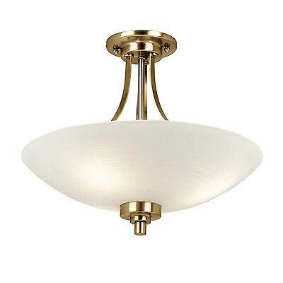 Welles 3 Light (Endon Welles flush ceiling light 3x 60W White painted glass line & antique)