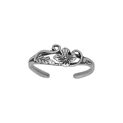 Sterling Silver Flower and Leaf Design Toe Ring adjustable size | Made In USA