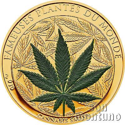 2010 Benin Cannabis Sativa Gold Plated Marijuana Scented Cuni Coin Famous Plants