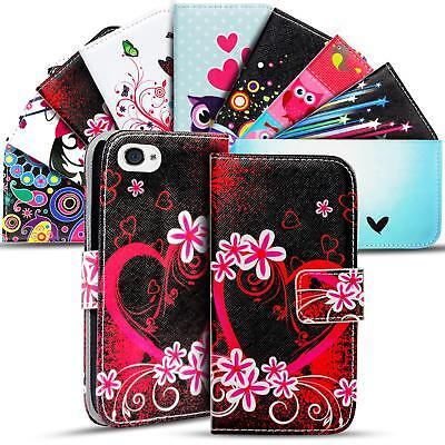 Handy Tasche Apple iPhone 4 4S Flip Cover Case Schutz Hülle Etui Motiv Wallet