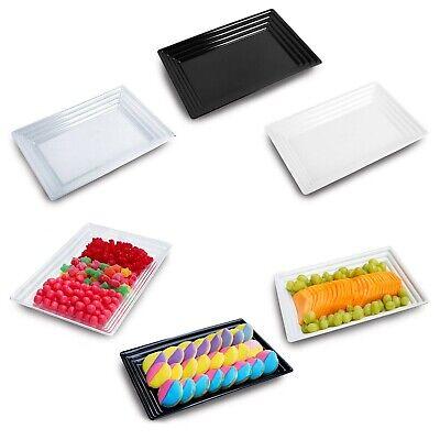 Disposable Reusable Plastic Rectangular Serving Trays Wedding Party Supply 24pcs