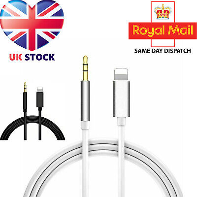 3.5mm Jack AUX Adapter Cable Cord Lightning to Car Audio For iPhone 7 8 X XS UK