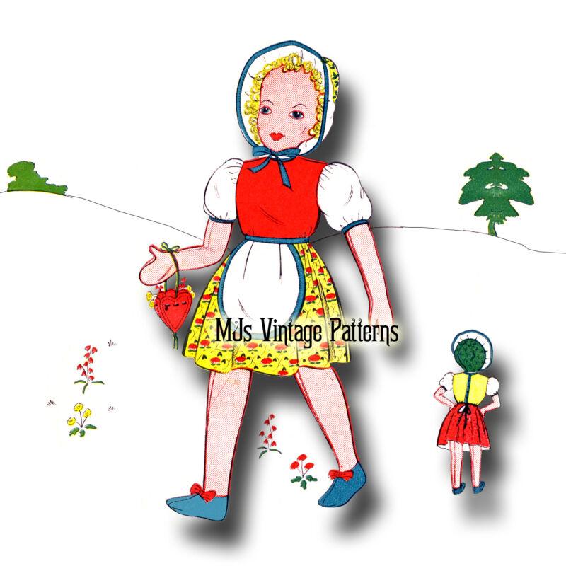 "Vintage Girl Doll w/ Bonnet ~ Stuffed Cloth Doll Economy Pattern ~ 20"" tall"