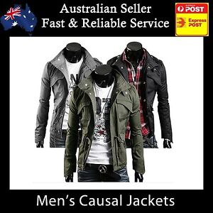 Mens-Jacket-Men-Casual-Military-Jacket-coat-SEXY-SLIM-FIT