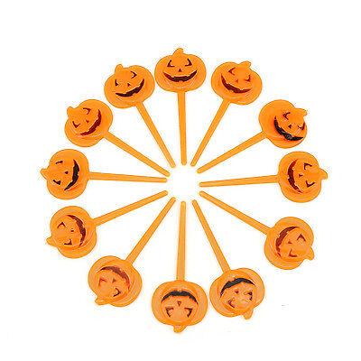 12 Halloween Orange Plastic Pumpkin Party Cupcake Appetizers Pick Toppers Decor