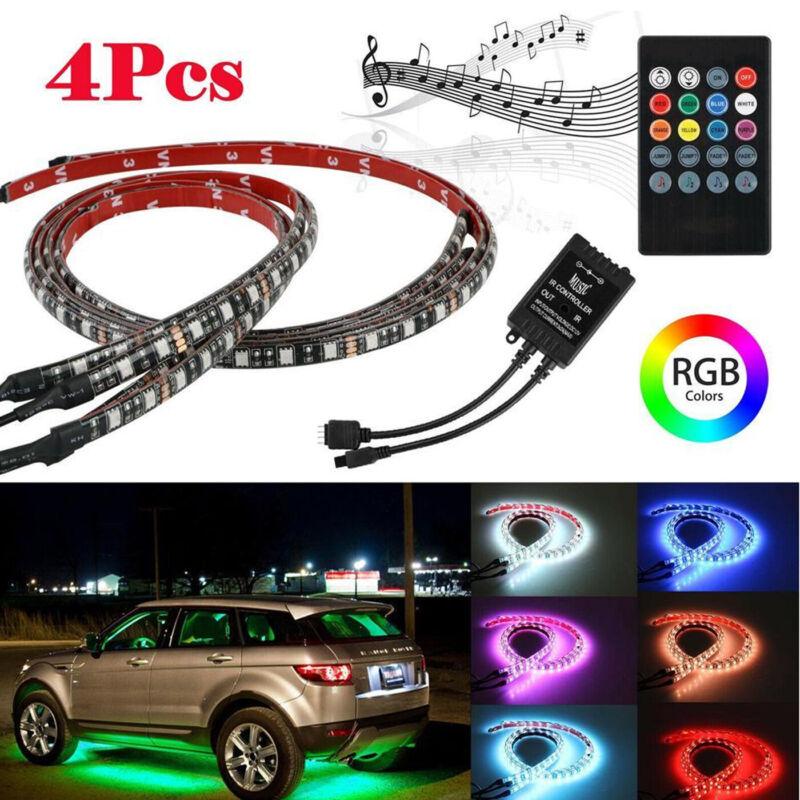 RGB 48 LED Strip Under Car Tube Underglow Underbody System 4Pcs Neon Lights Kit