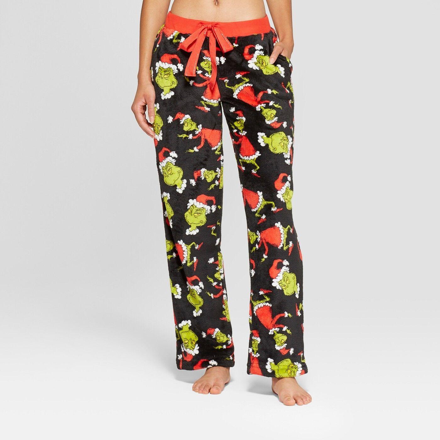 Dr Seuss The Grinch Mens Green Plaid Microfleece Sleep Pants Pajama Bottoms