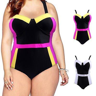 Women's Underwire Plus Size Swimsuit Halter Top One Piece Pin Up Monokini -
