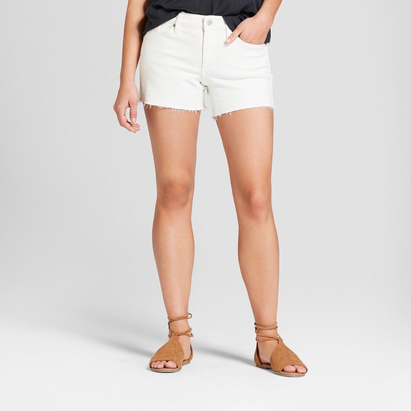 fbee62f7220 Details about NWT Women's Mid-Rise Raw Hem Midi Jean Shorts - Universal  Thread White