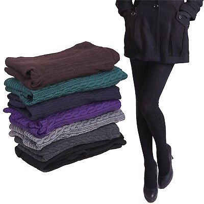 Women's Thermal Knit Tights Full Length Cotton Blend Winter Weather Stockings (Winter Cotton Blend)