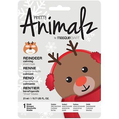 Lot Of 6 Pretty Animalz sheet mask by MASQUEBAR Reindeer Calming Sheet Mask