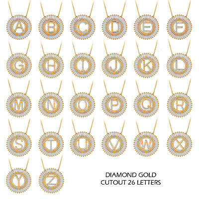 A-Z Alphabet Initial Letter Necklace Gold Tone Full Rhinestone CZ Pendant Gift