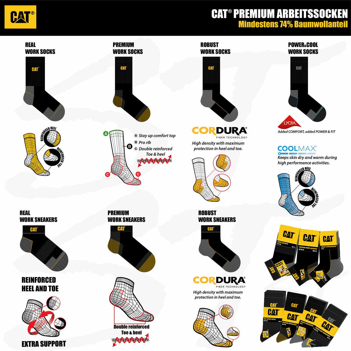CAT® SOCKEN CAT® CATERPILLAR PREMIUM Work Arbeitssocken Arbeits Sneaker Strümpfe