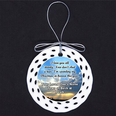 Christmas in Heaven CUSTOM Porcelain Ornament Gift Death Loss - In Memory Christmas Ornaments