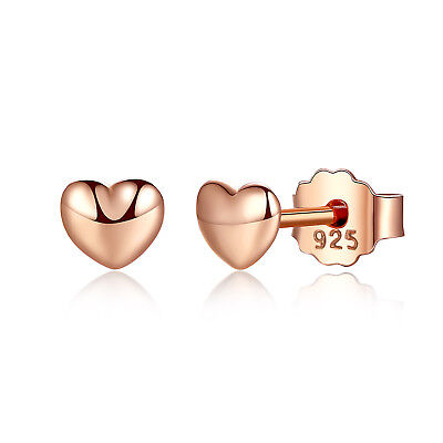 Wostu Small S925 Sterling Silver Earrings Rose Gold Heart For Women -