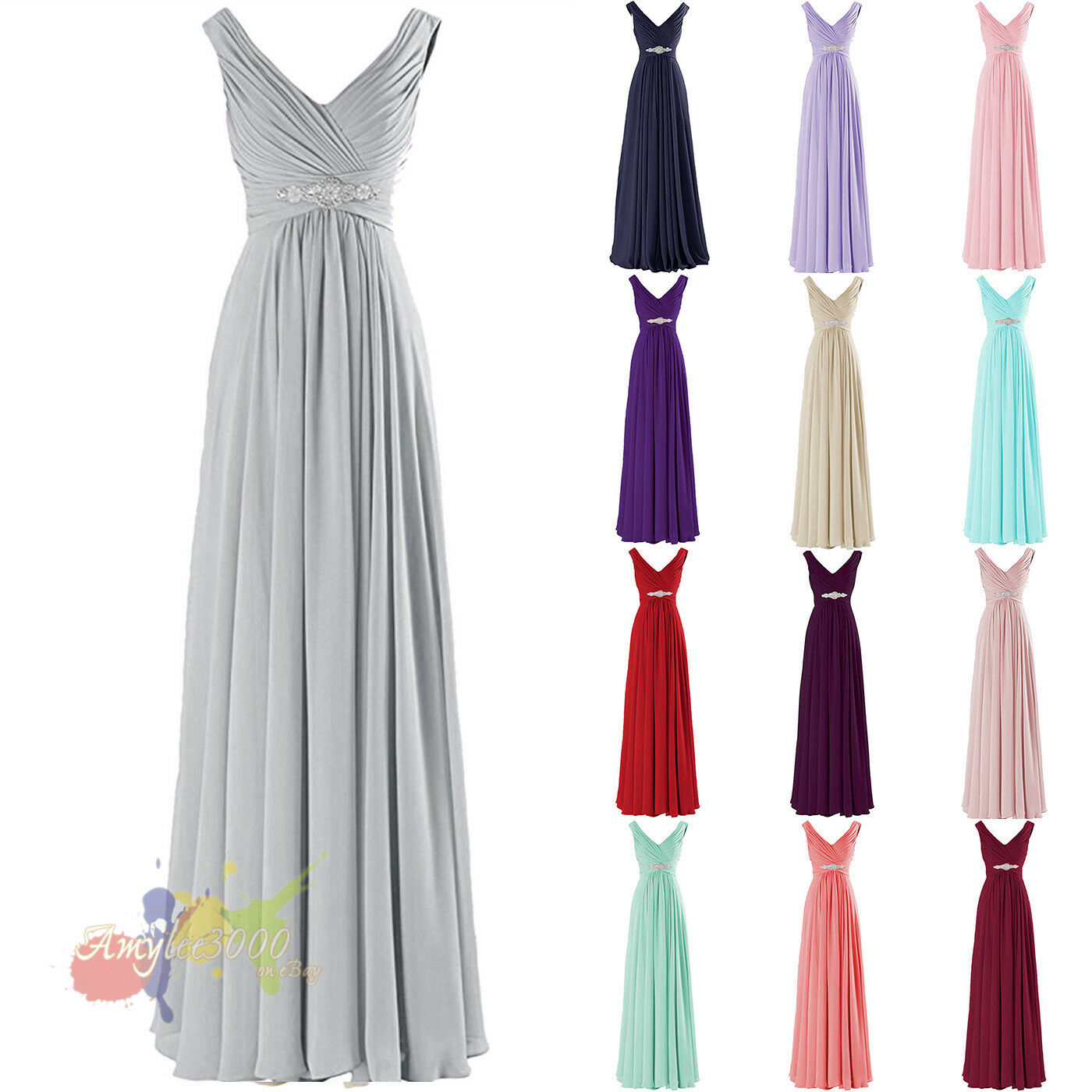 Long Chiffon Cap Sleeve Formal Prom Dresses Party Bridesmaid Evening Gowns 6-16