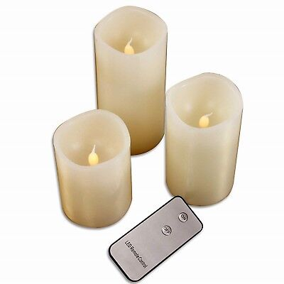 4 Tlg LED Wachskerzen mit Fernbedienung Flammenlose Cream Wachs Echtwachs Kerzen