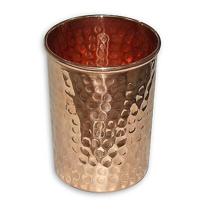 Hammered Copper Drinking Glass Cup Tumbler 300 ml - Ayurveda Health yoga