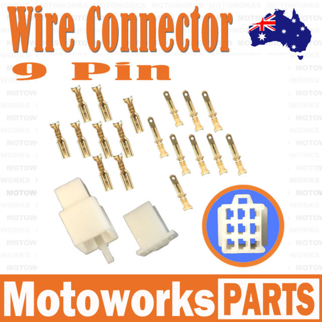 9 Pin Male Female Wire Connector Plug Socket PIT PRO QUAD DIRT BIKE ATV BUGGY 02