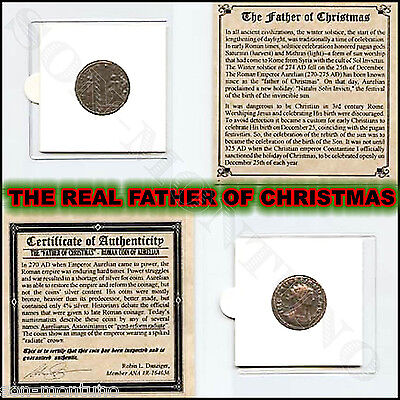 REAL FATHER OF CHRISTMAS - Antique Roman Pagan Coin AURELIAN EMPEROR 270-275 AD ()