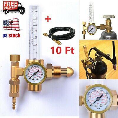 Argon Co2 Mig Tig Flow Meter Regulator Welding Gas Gauge Welder With 10gas Hose