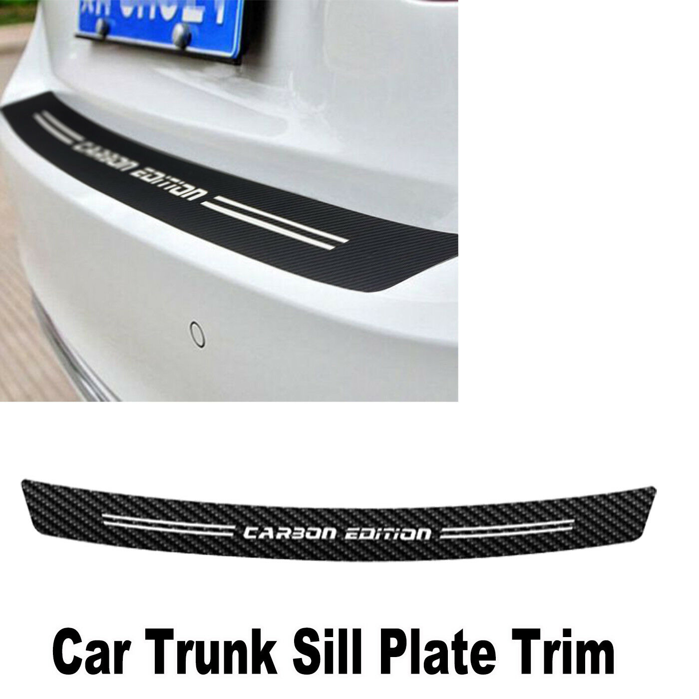 Universal Car Sill Plate Bumper Guard Protector Carbon Fiber Pad Cover Trim