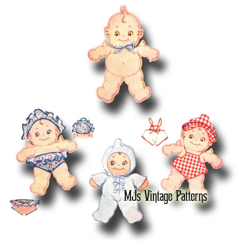 Vintage 1930s Kewpie Cloth Stuffed Doll Pattern + Clothes