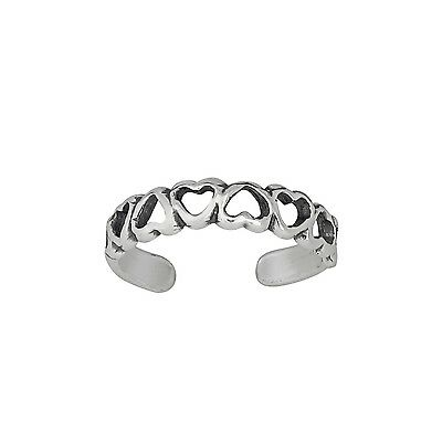 Sterling Silver .925 Multiple Hearts Toe Ring adjustable size | Made In USA