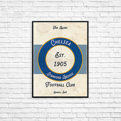 Chelsea FC The Blues A4 Art Poster Retro Vintage Style Print Stamford Bridge