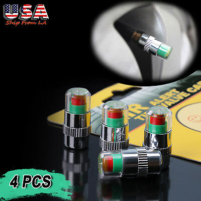 4x 36PSI TPMS Tire Pressure Monitor Valve Stem Caps 3 Color Sensor