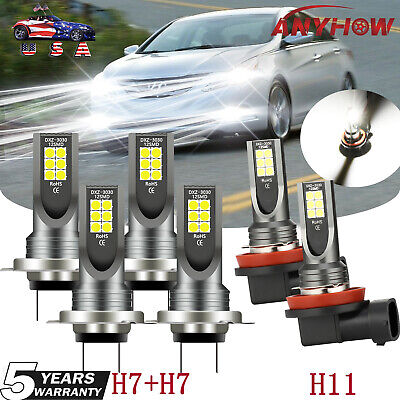 For Hyundai Sonata 2011-2014 LED 6X Bulbs H7 Headlight Hi-Lo+ H11 Fog Lamp 6000K