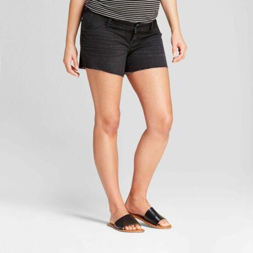 Ingrid & Isabel Maternity Inset Panel Midi Jean Shorts – Black Sizes 14 16 18 #7