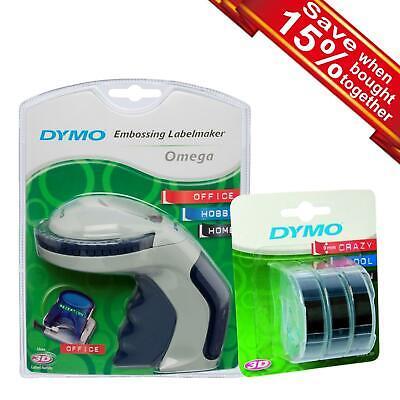 Dymo Omega Embossing Label Maker Or 3D Label on Black Tape Single or Bundle