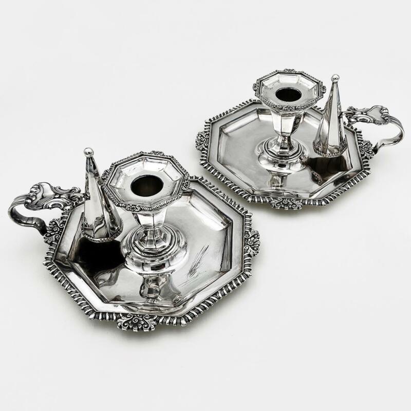 Fine PAIR SILVER PLATE OCTAGONAL CHAMBER CANDLESTICKS VICTORIAN c1850