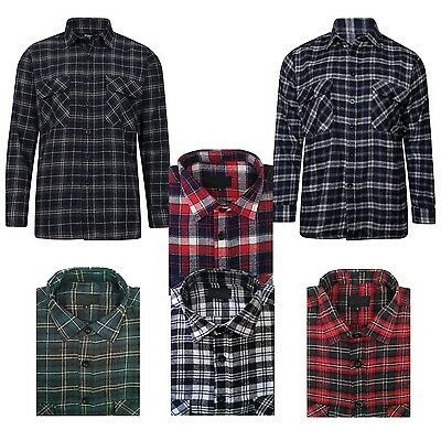 - Mens Flannel Brushed Cotton Work Shirts Lumberjack Check Long Sleeves Size S-5XL