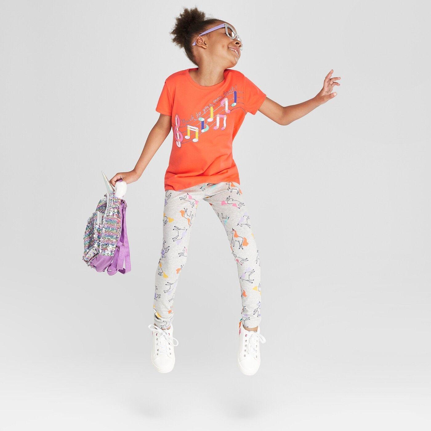 Cat & Jack Girls' Unicorn Print Leggings - Heather Gray - Sm