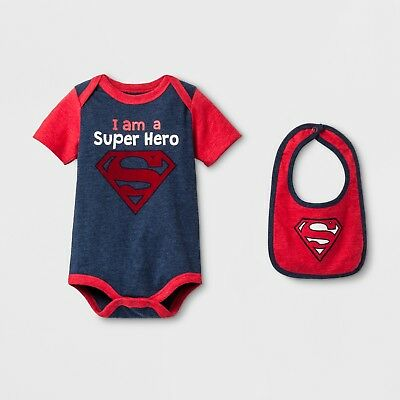 NWT Superman Baby Boy Short Sleeve Super Hero Bodysuit Bib Set 0-3 3-6 6-9 M](Baby Super Hero)