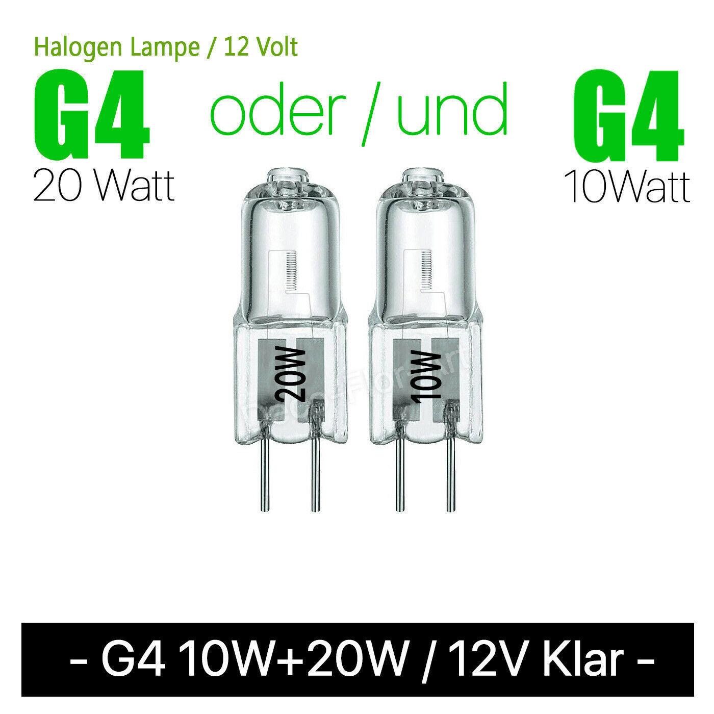 G4 10W oder 20W 12V - klar - Halogenlampe Halogen Lampe Stiftsockel Lampensockel