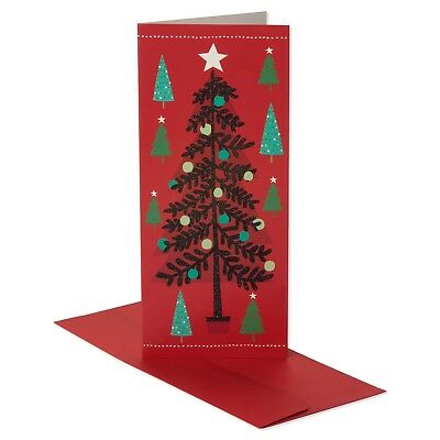New ! 14ct American Greetings Tree with Black Glitter Holiday Boxed Cards ()