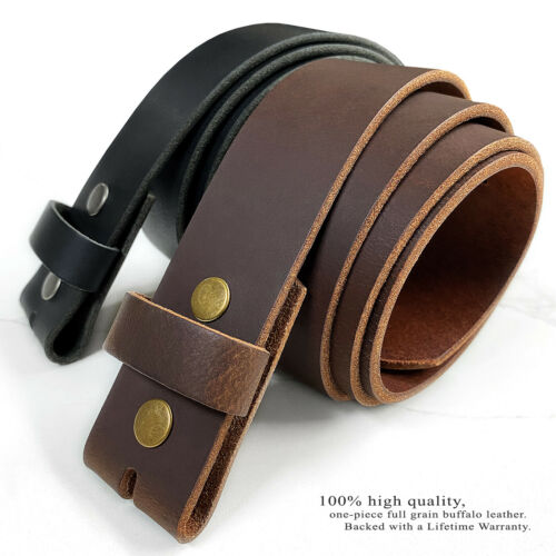 "One Piece Solid Leather Belt Strap 1-1/2"" Wide With Snaps, Black Brown"