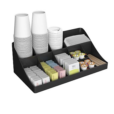 Mind Reader 11 Compartment Breakroom Coffee Condiment Organizer Black