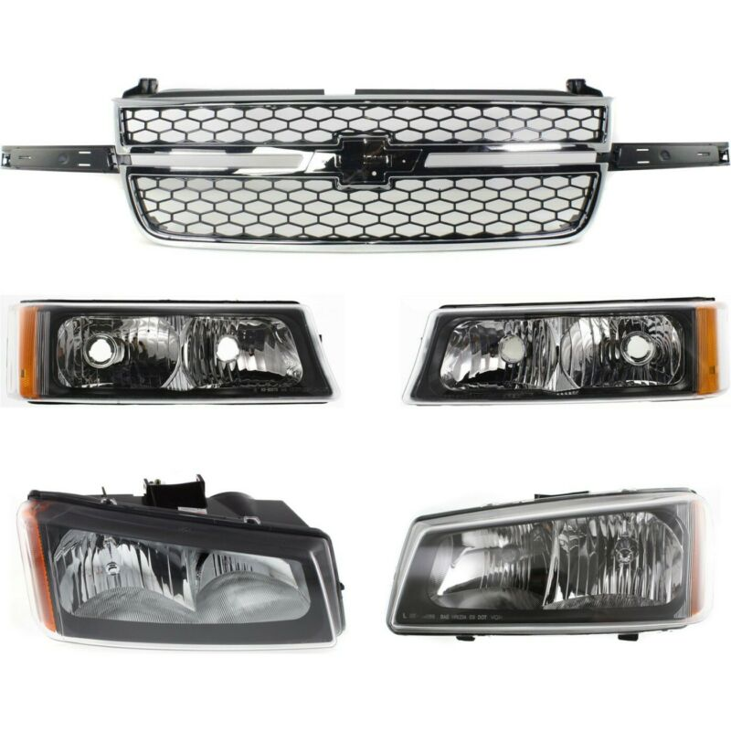 Grille Assembly Kit For 2003-2006 Chevy Silverado 1500 Front 5pc