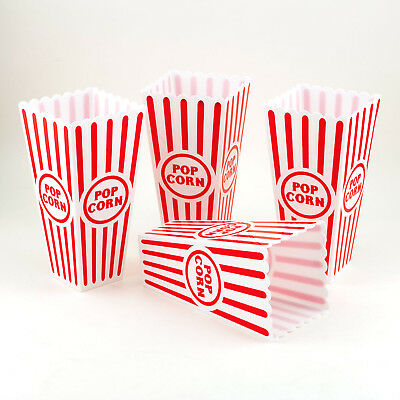 Reuseable Popcorn Plastic Containers Bowl Movie Theater Style Red White Set Lot](Red Plastic Bowls)