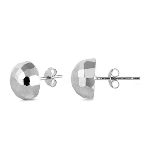 Half Hammered Finish Ball Stud 925 Sterling Silver Post Earrings (Select Sizes)
