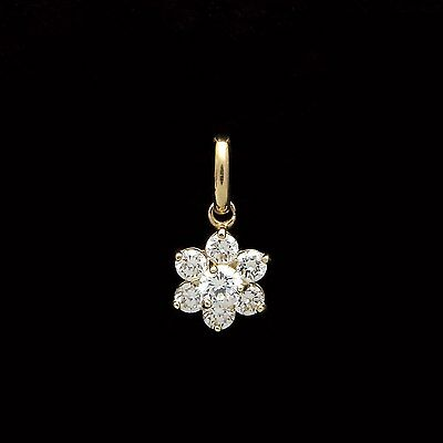 3/4CT Brilliant Created Diamond Cluster Pendant 14k Yellow Gold Flower Charm