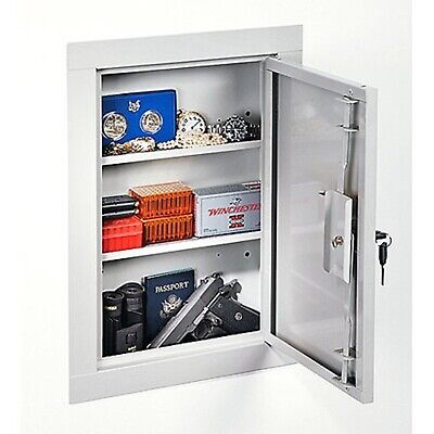 Stack On In Wall Cabinet Safe Box Security Home Gun Cash Jewelry Storage Beige